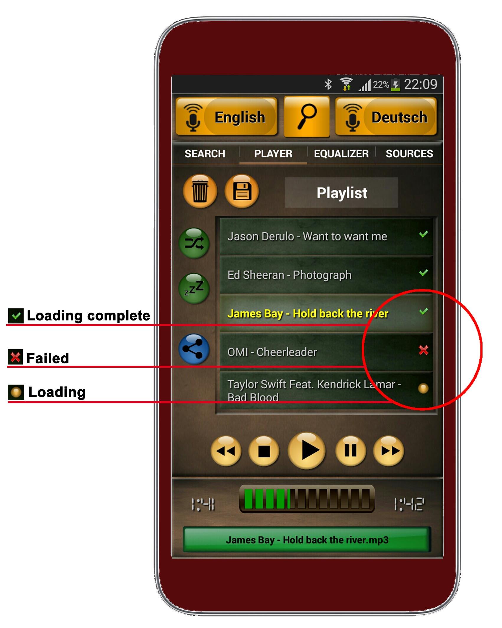 speakamp playlist-ladestatus